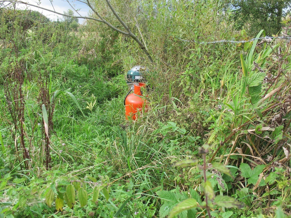 A mosquito trap nestled in the wetlandscape around Bedford. Credit: K Morrison & H Lemke